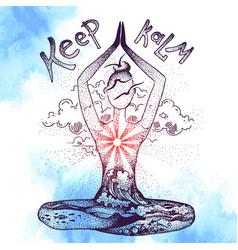 Yoga meditation pose graphic hand drawn vector