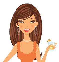 Beautiful cocktail girl vector image vector image