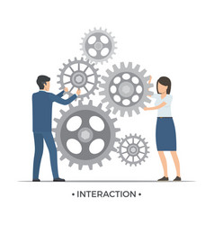 interaction people and gears vector image vector image
