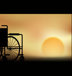 wheelchair sunset vector image vector image