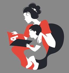 Beautiful silhouette of mother and baby reading vector image vector image