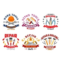 Repair tool and building instrument badge set vector image vector image