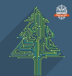 Abstract christmas tree metro scheme vector image vector image