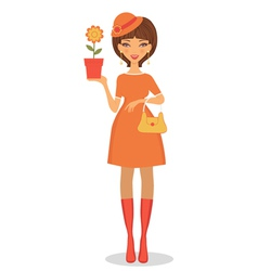 Beautiful woman with flower vector image vector image