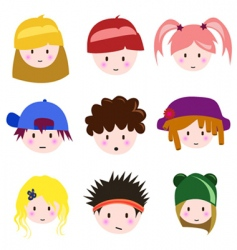cartoon children faces vector image