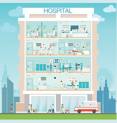 hospital building exterior with doctor and patient vector image vector image