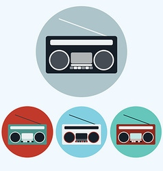 Old Vintage Boombox icon set vector image