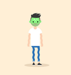 sick shivering young man with green face cartoon vector image