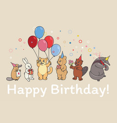 an animals birthday party postcard vector image