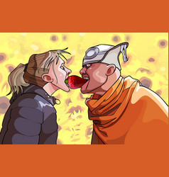 cartoon funny man and woman grabbing one berrys vector image