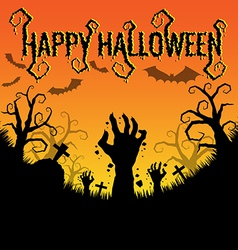 Halloween background with zombies hand vector image