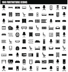 100 furniture icon set simple style vector image