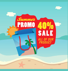40 sale summer promotion shopping bag icon with vector