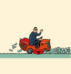 a businessman cuts money with lawn mower vector image