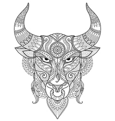 Angry bull coloring vector