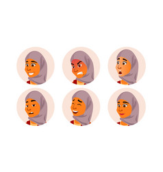 arab avatar woman facial emotions vector image