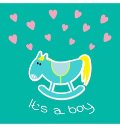 Baby boy shower card with cute horse Flat design vector
