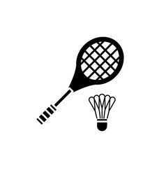 Badminton racket black icon sign on vector