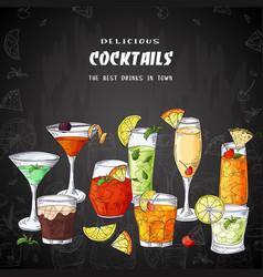 bar menu design template for cocktail drinks vector image