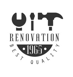 Best quality repair and renovation service black vector