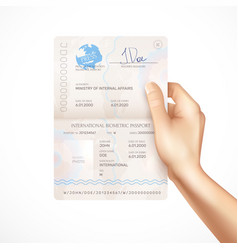 biometric passport mockup in human hand vector image
