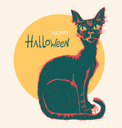 Black cat and big moon hand drawn color halloween vector