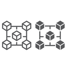 blockchain line and glyph icon money vector image