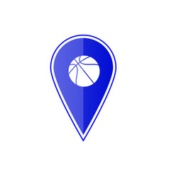 Blue map pointer with basketball vector