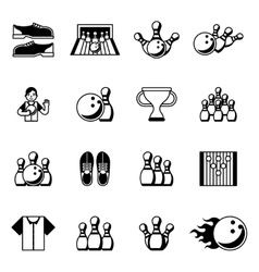Bowling black icons Signs and symbols vector image