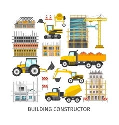 Building elements flat constructor vector