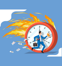 Businessman is fast running on big clock vector