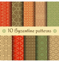 Byzantine seamless patterns set vector image