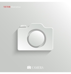 Camera icon - white app button vector image