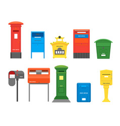 cartoon color mail box set vector image