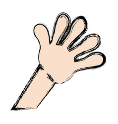 Cartoon hand kid showing five finger vector