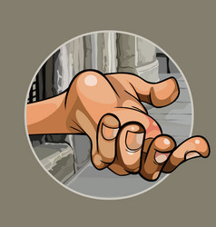 Cartoon hand of a beggar in the street close up vector