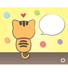 Cat talking with speech bubble vector