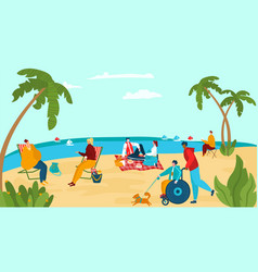 character people relax sea shore male female vector image