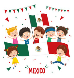 children holding mexico flag vector image