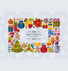 christmas background with 3d paper cut signs cute vector image