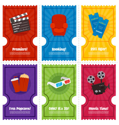 cinema ticket flyer set vector image