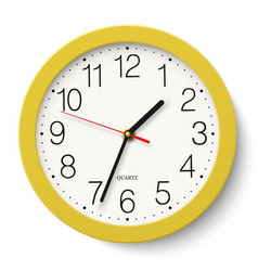 Classic round wall clock in yellow body isolated vector