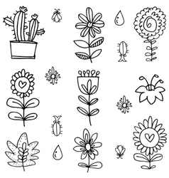Collection of spring with hand draw vector