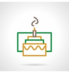 Color simple line festive cake icon vector image