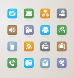 Communication and media icons set vector