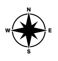 Compass main directions icon black white vector