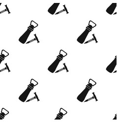 Corkscrew and bottle-opener icon in black style vector