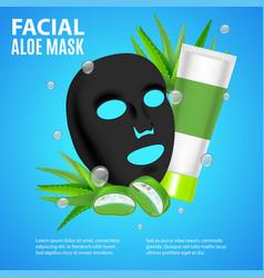 cosmetic facial sheet aloe mask card or poster vector image