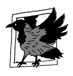 Crow frame window isolated on white vector