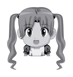 Cute cartoon anime little girl chibi character vector